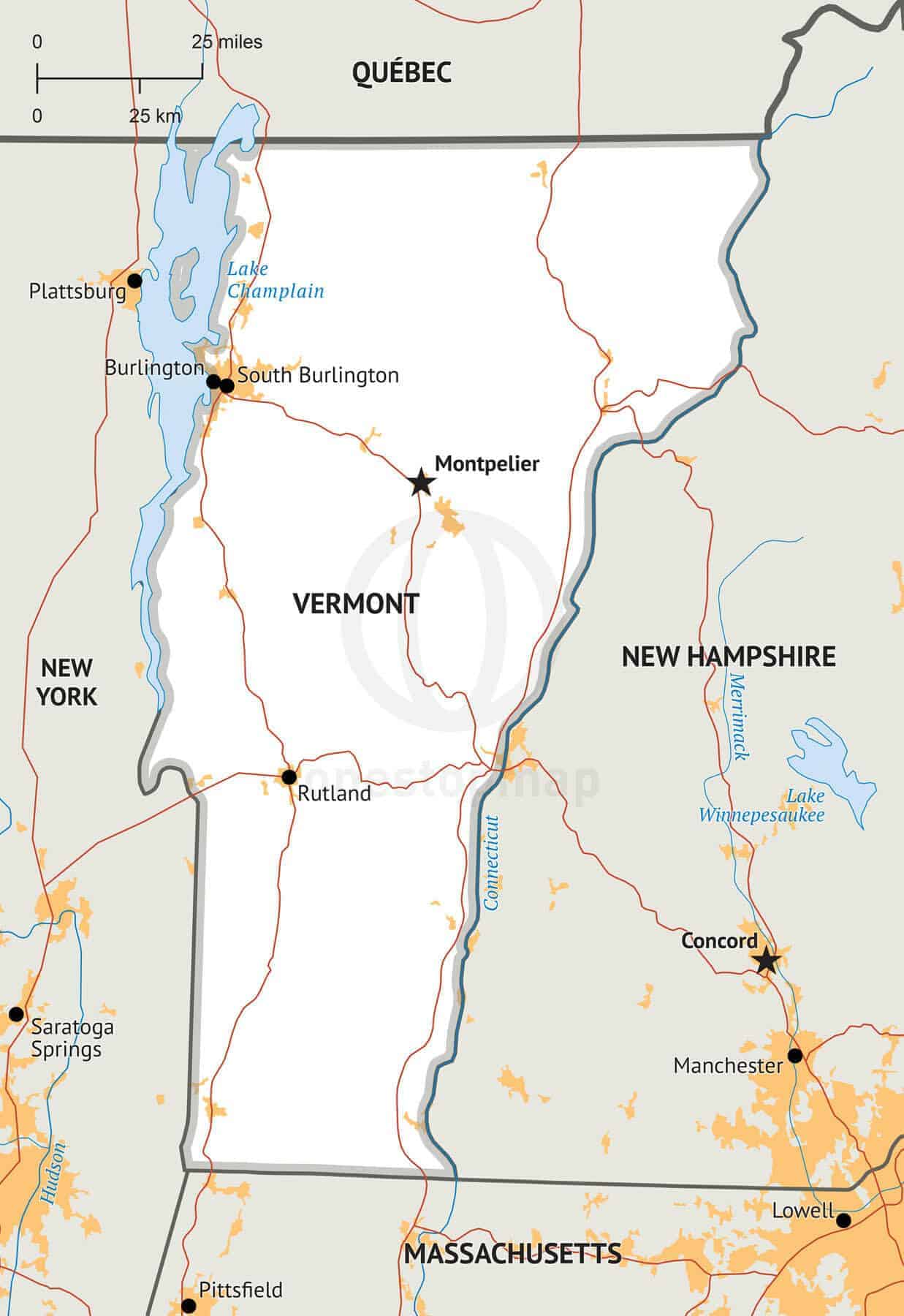 Stock vector map of Vermont