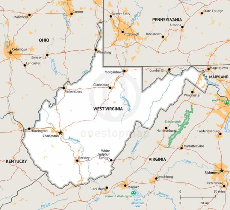 Stock vector map of West Virginia