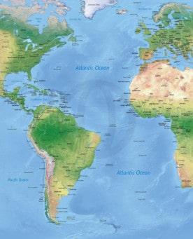 Stock vector map of the Atlantic Ocean