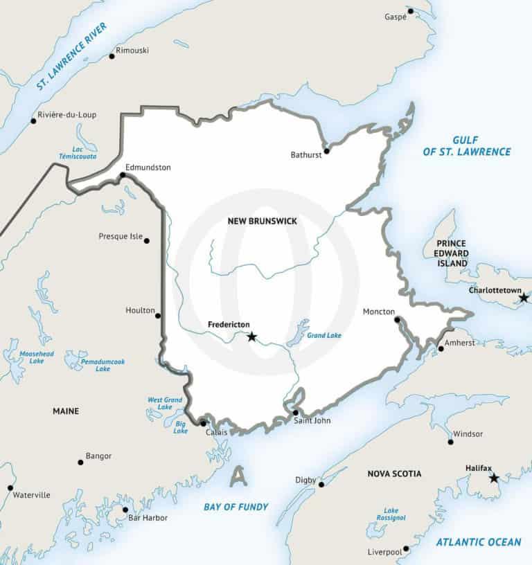 Stock vector map of New Brunswick