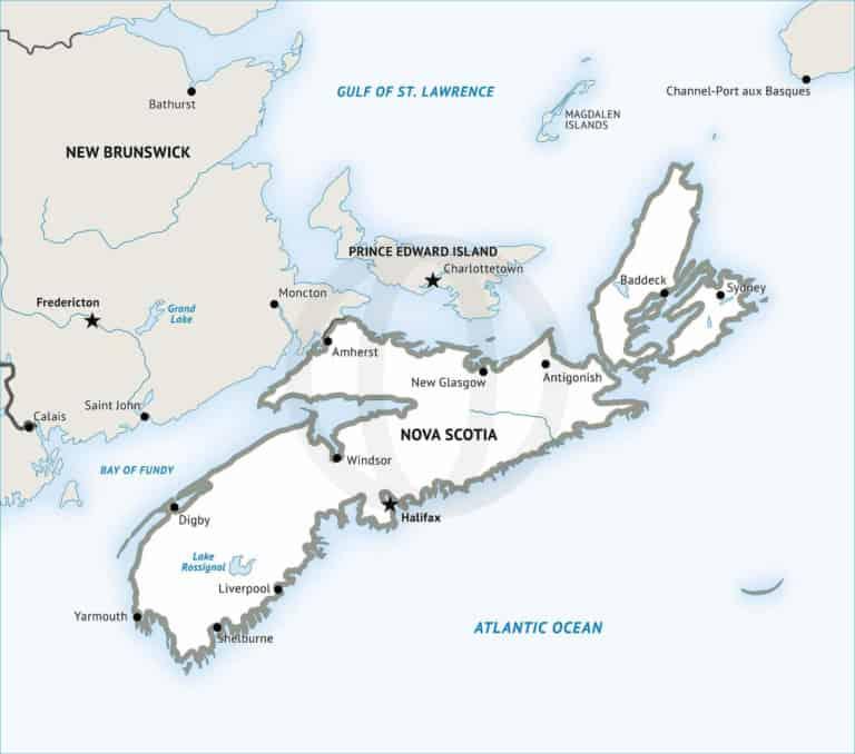 Stock vector map of Nova Scotia