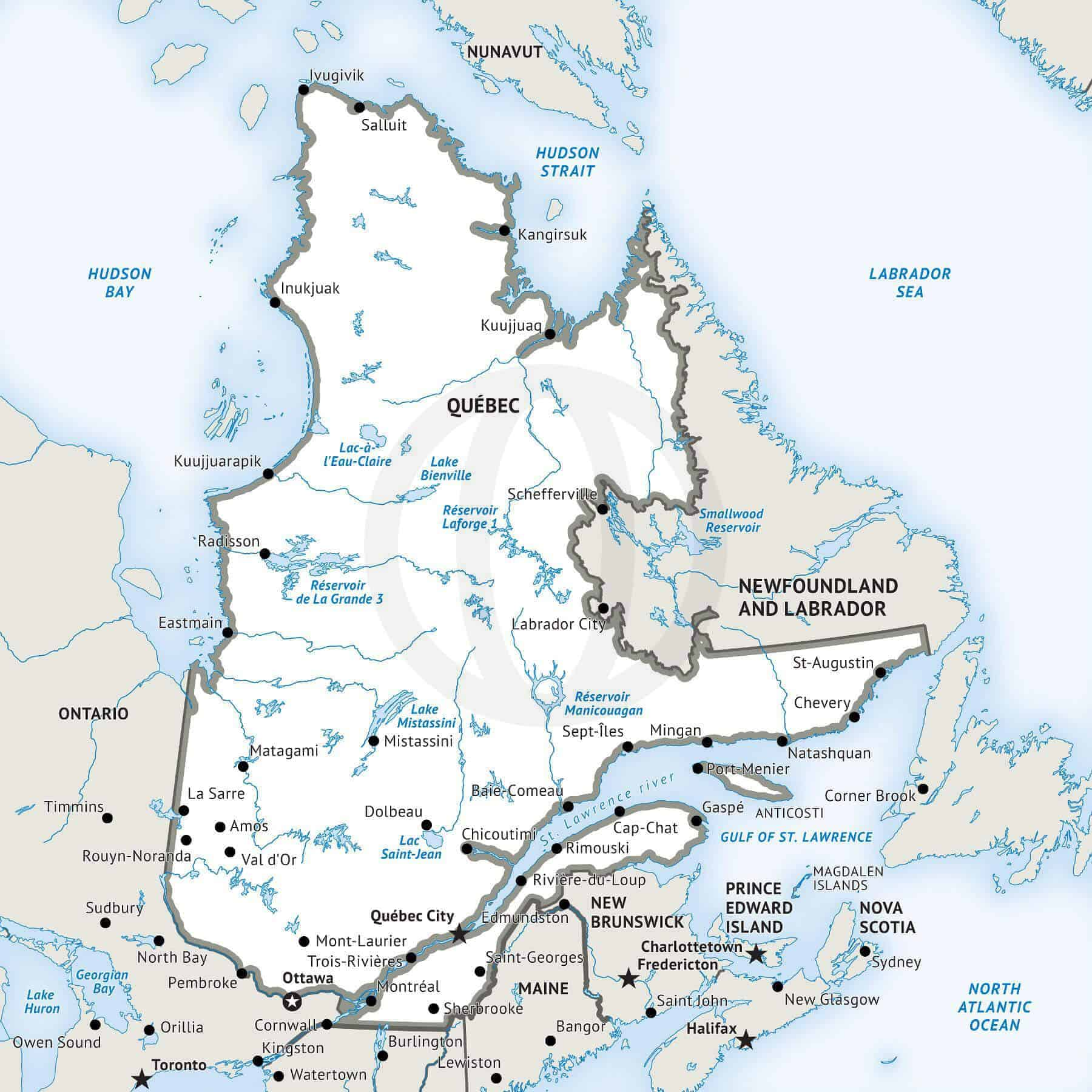Map of Quebec Defined