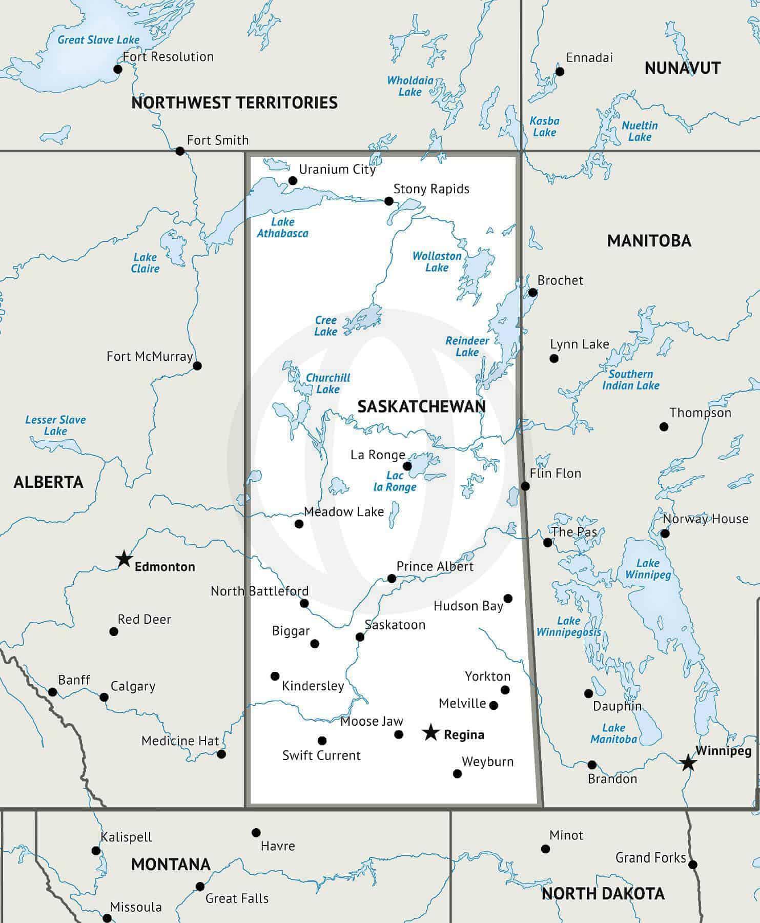 Stock vector map of Saskatchewan