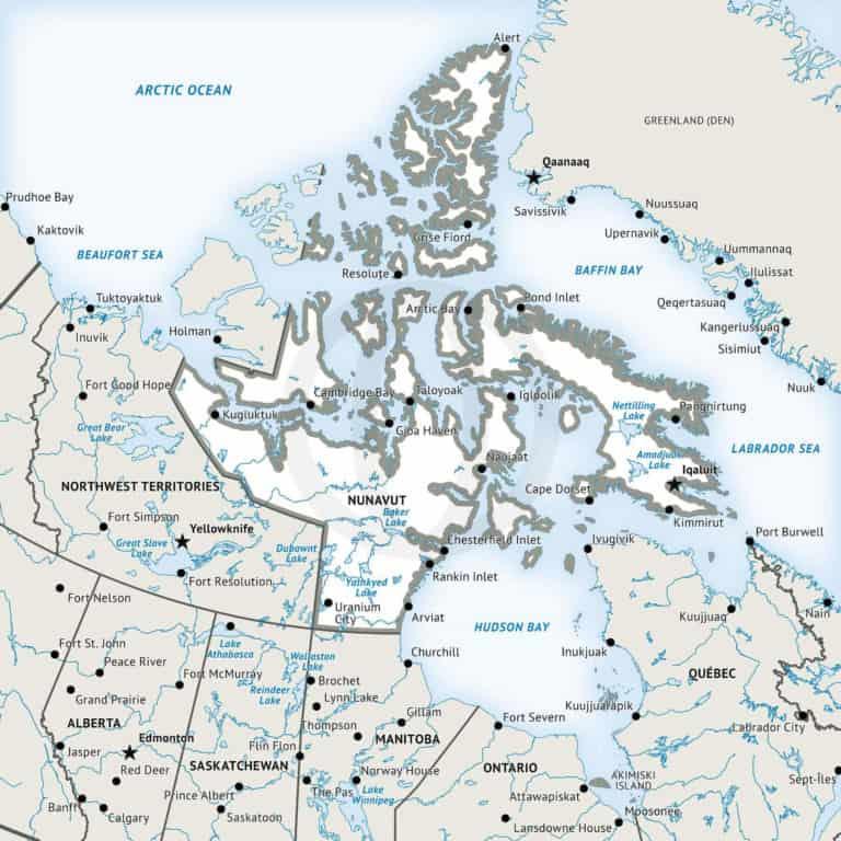 Stock vector map of Nunavut