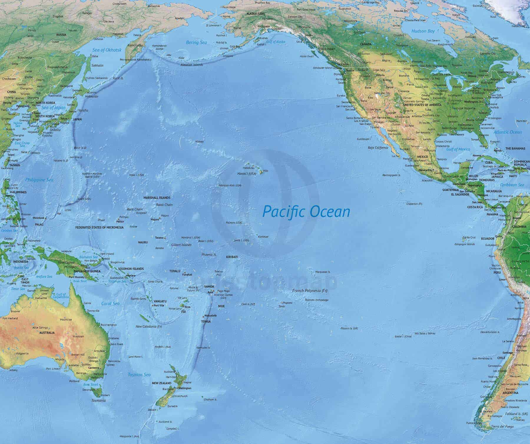 us map pacific ocean Vector Map Of The Pacific Ocean Political With Shaded Relief One us map pacific ocean