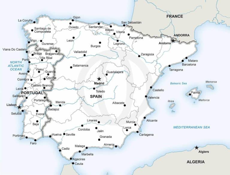 Stock vector map of the Iberian Peninsula