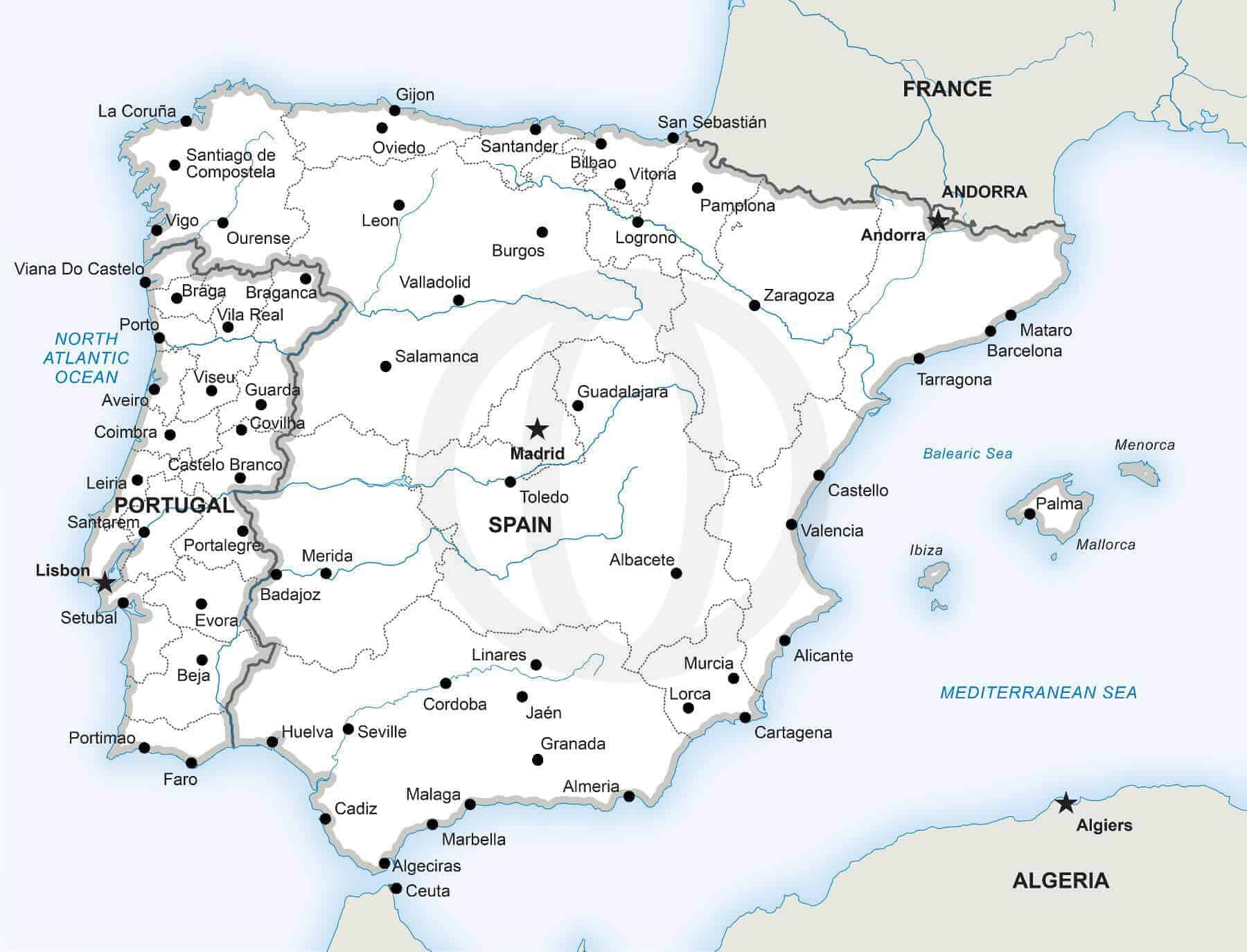 Image of: Vector Map Of The Iberian Peninsula Political One Stop Map