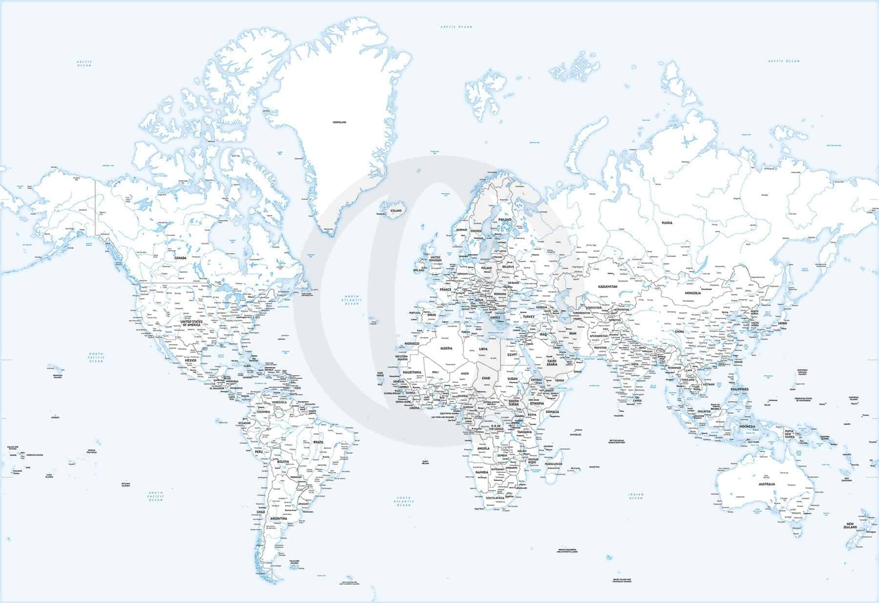 High detail Mercator world mapq