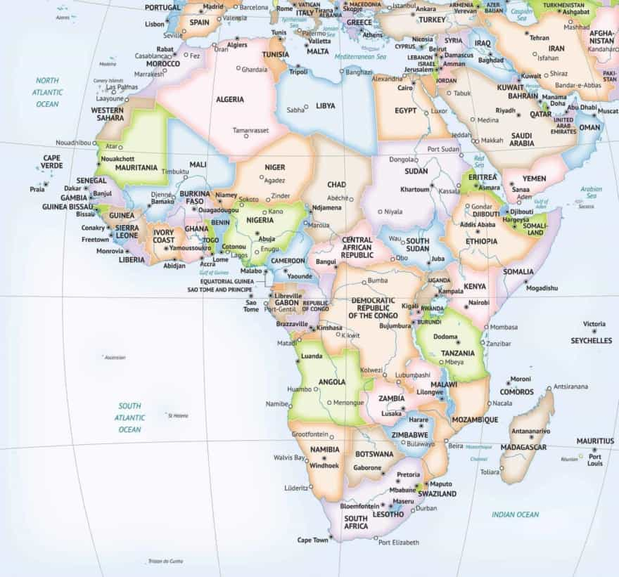 Africa continent formal map