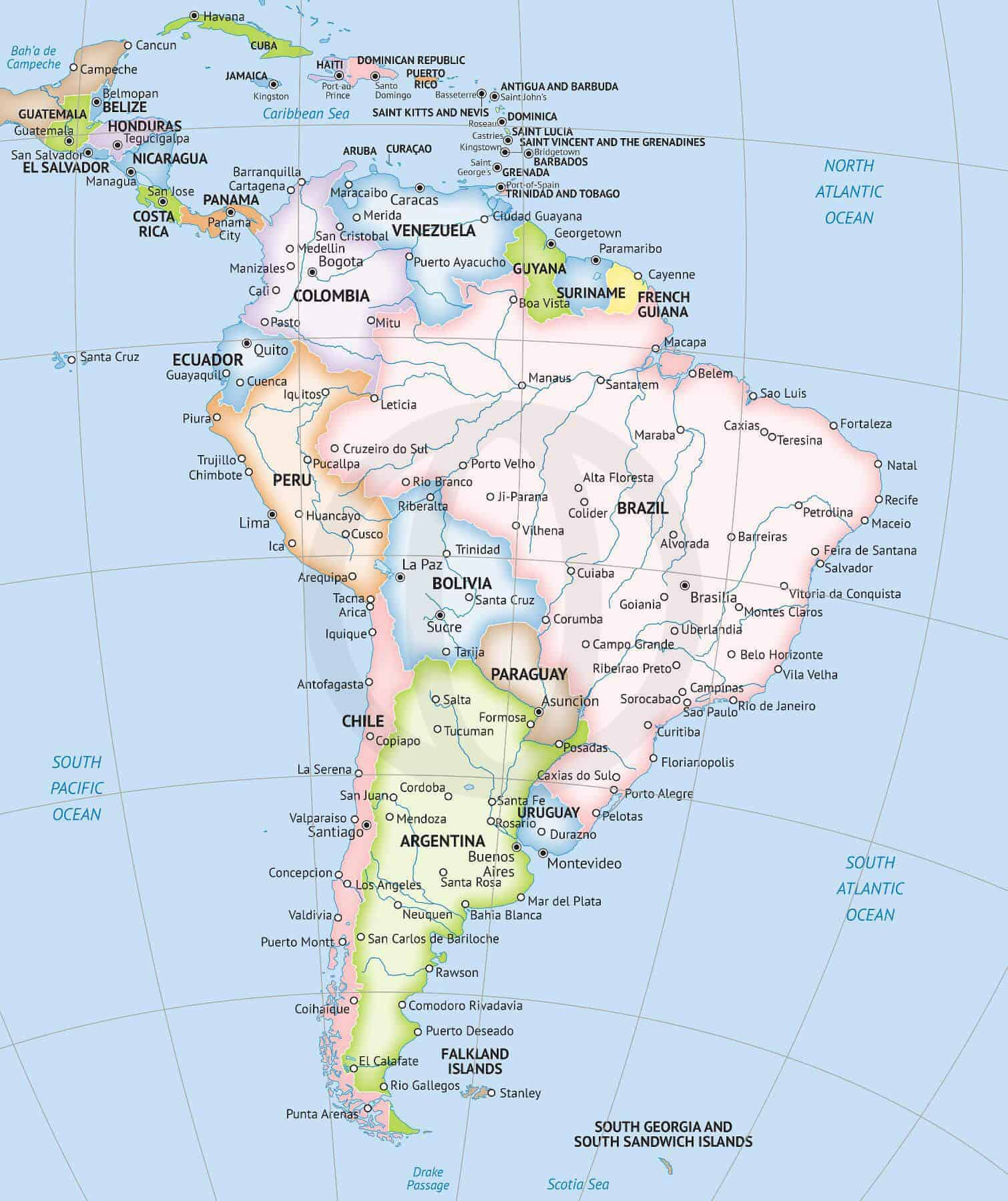 Map of South America continent Formal style