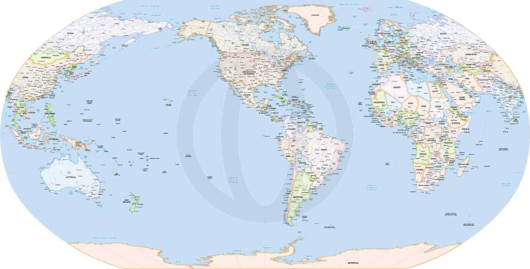 Formal map of the World political high detail Robinson America centered
