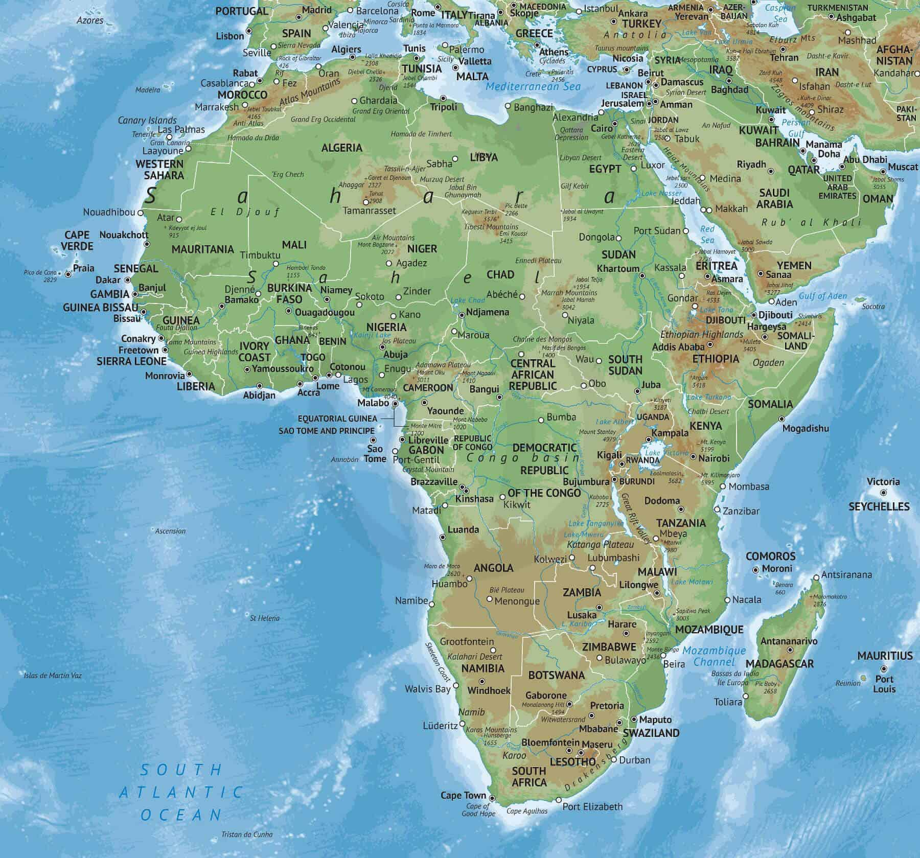 Picture of: Vector Map Of Africa Continent Physical One Stop Map