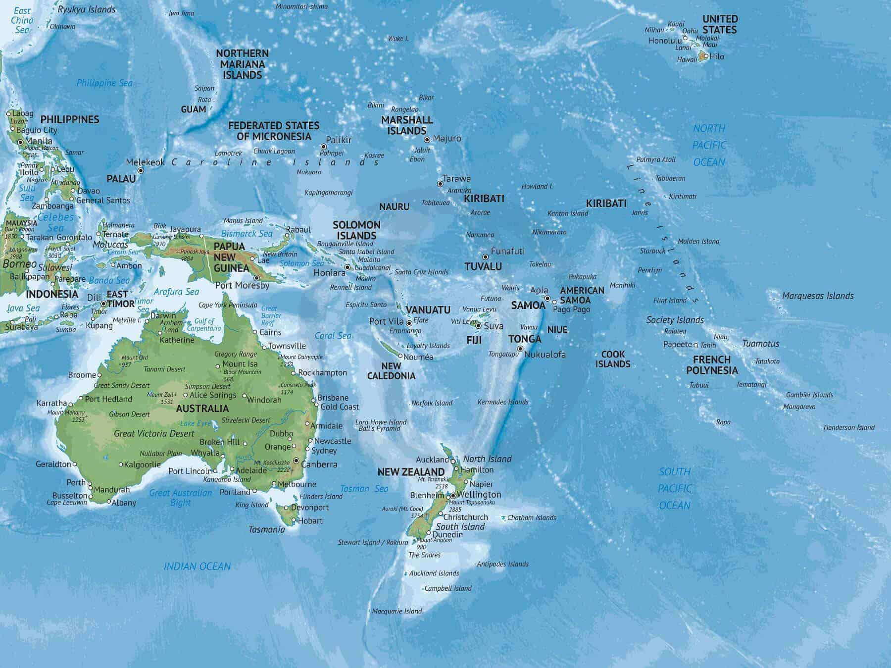Map of Oceania in Naturalist style